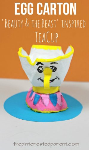 Egg Carton 'Beauty & the Beast' Chip inspired teacup craft. Kid's character inspired arts and crafts. Recyclable crafts