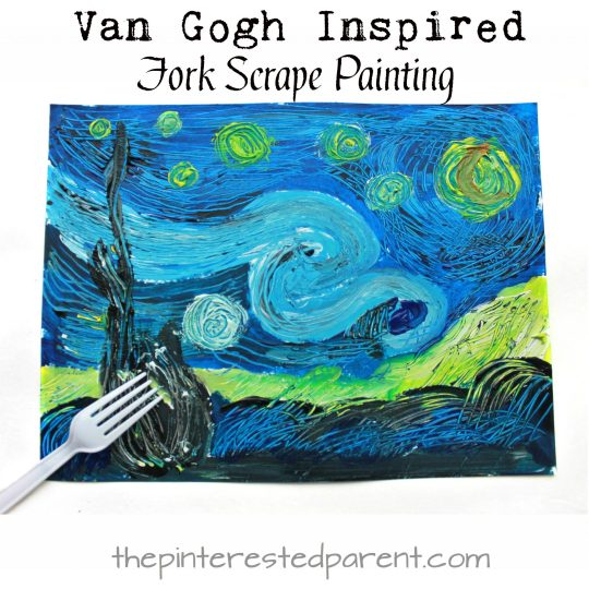 Van Gogh inspired fork scrape painted Starry Night . Art and painting projects for kids. Famous artist inspired arts and crafts