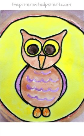 Inspired by the book 'Art & Max'. Yarn art and watercolor painting. Arts and crafts projects for kids. Owls