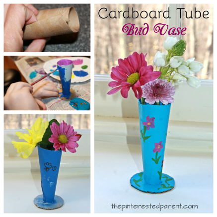 Cardboard tube flower bud vase. This is a great idea for Mother's Day or Valentine's. Recyclable arts and crafts for kids.