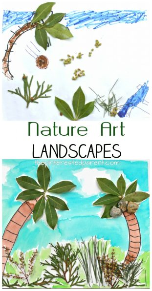 Nature art jungle landscapes. Use nature and watercolors, markers or crayons to create a fun piece of art for the kids. Arts and crafts