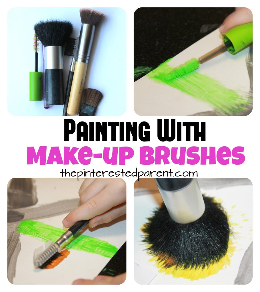Painting with make-up brushes. Process art projects for preschoolers and kids.