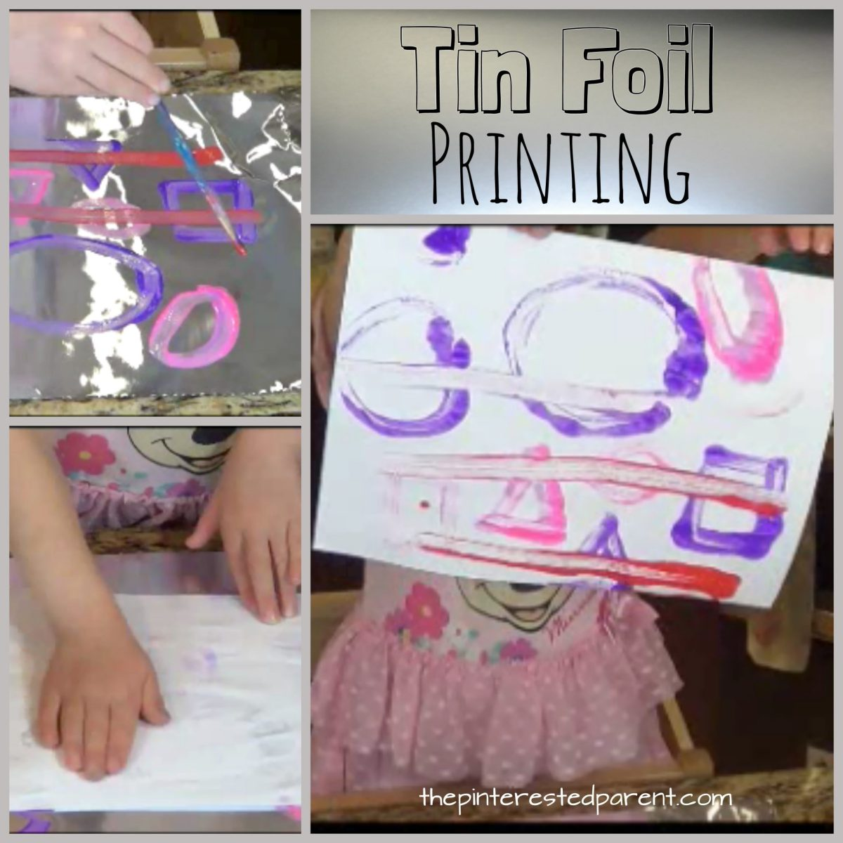 Tin Foil Paint Printing For Kids