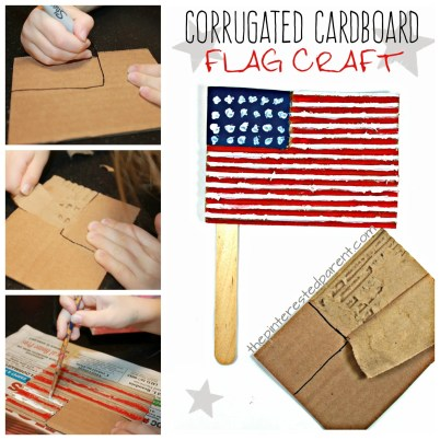 Peel cardboard for this corrugated American flag craft. This is perfect for Memorial Day or the Fourth of July. Summer arts and crafts for kids.