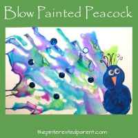 Straw Blown Peacock Painting