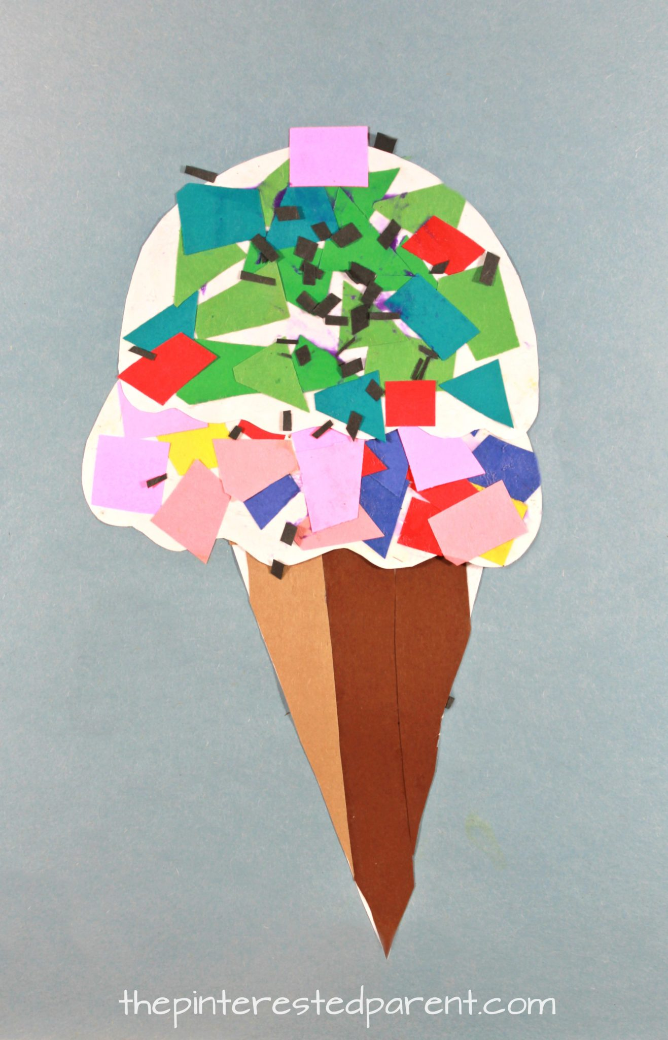 Printable paper mosaic ice cream cone the pinterested parent for Paper art projects