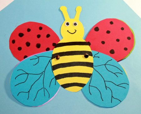 Transform a bee into a butterfly using a free printable template. Design the wings and transform in this fun kid's craft. Construction paper Arts and crafts for preschoolers and kids