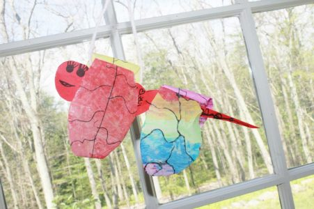 Free printable template. Hanging painted wax paper and construction paper dragonfly. Kid's arts and crafts, Insects and summer