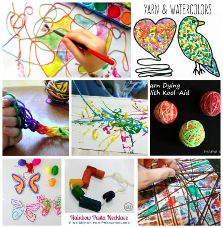 40 Fun and fantastic yarn arts, crafts and activities for kids. Process art, sewing, craft ideas and activities to build fine motor skills. Great for preschoolers to big kids