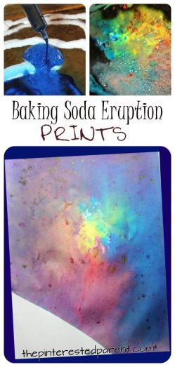 Vinegar and baking soda eruption prints - science and art combine for this pretty process art. Messy painting, arts and crafts for kids