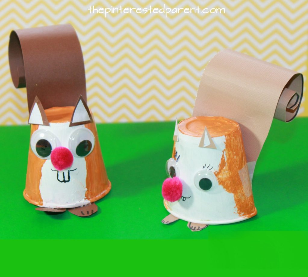 Dixie Cup Squirrel Craft - kid's arts and crafts - paper animals