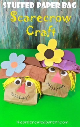 Brown paper bag crafts for the fall. These stuffed paper bag Indian corn, apple tree and scarecrow stuffed bag crafts for the kids are perfect for autumn