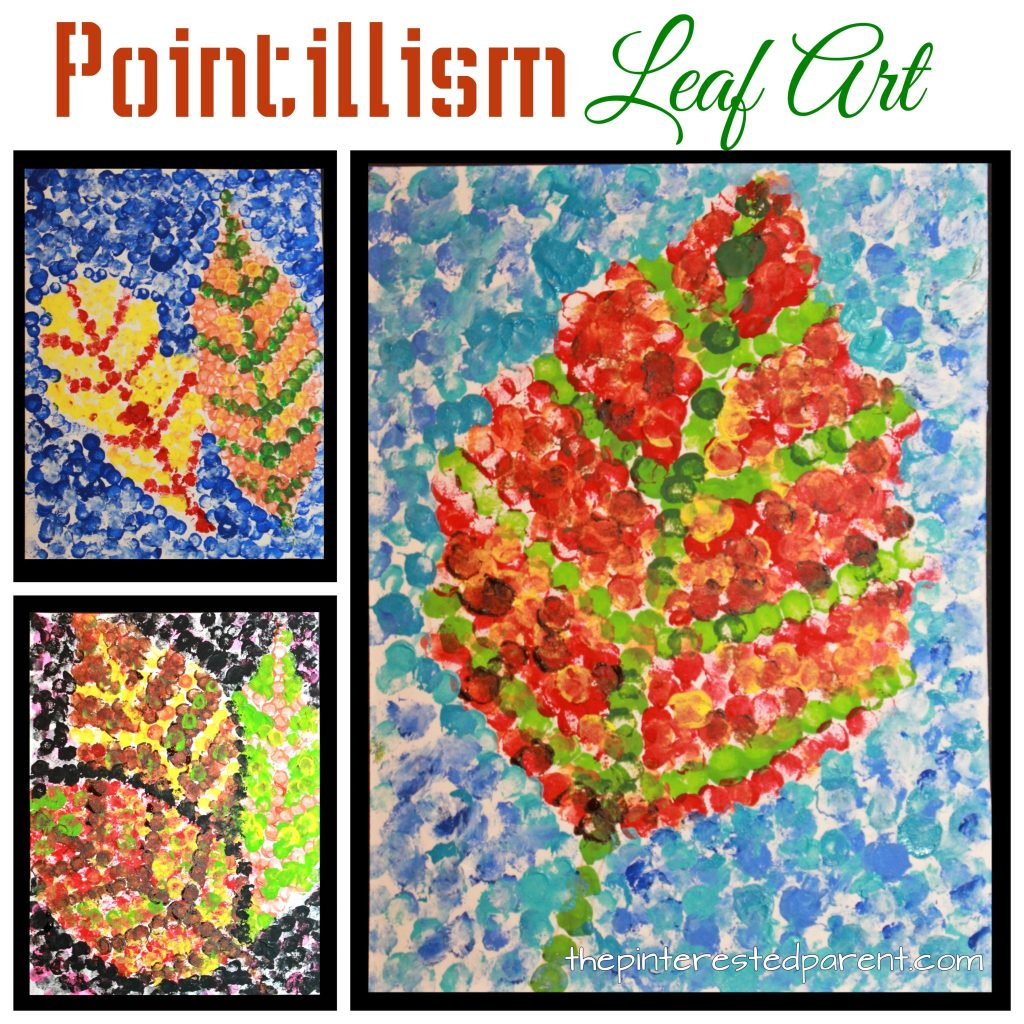 Pointillism fall leaf art inspired by Seurat. Impressionism and painting for kids