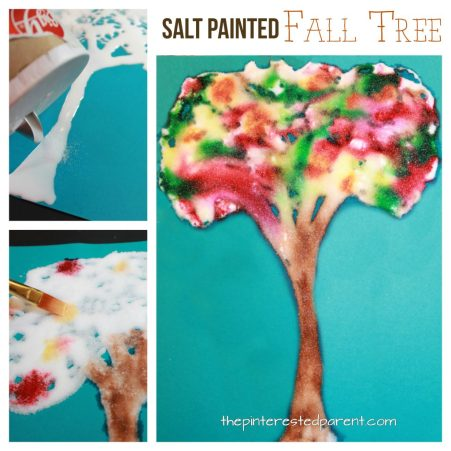 Salt painted fall tree. Salt and watercolor paintings. This is a cool process that the kids will love. Arts and crafts for kids