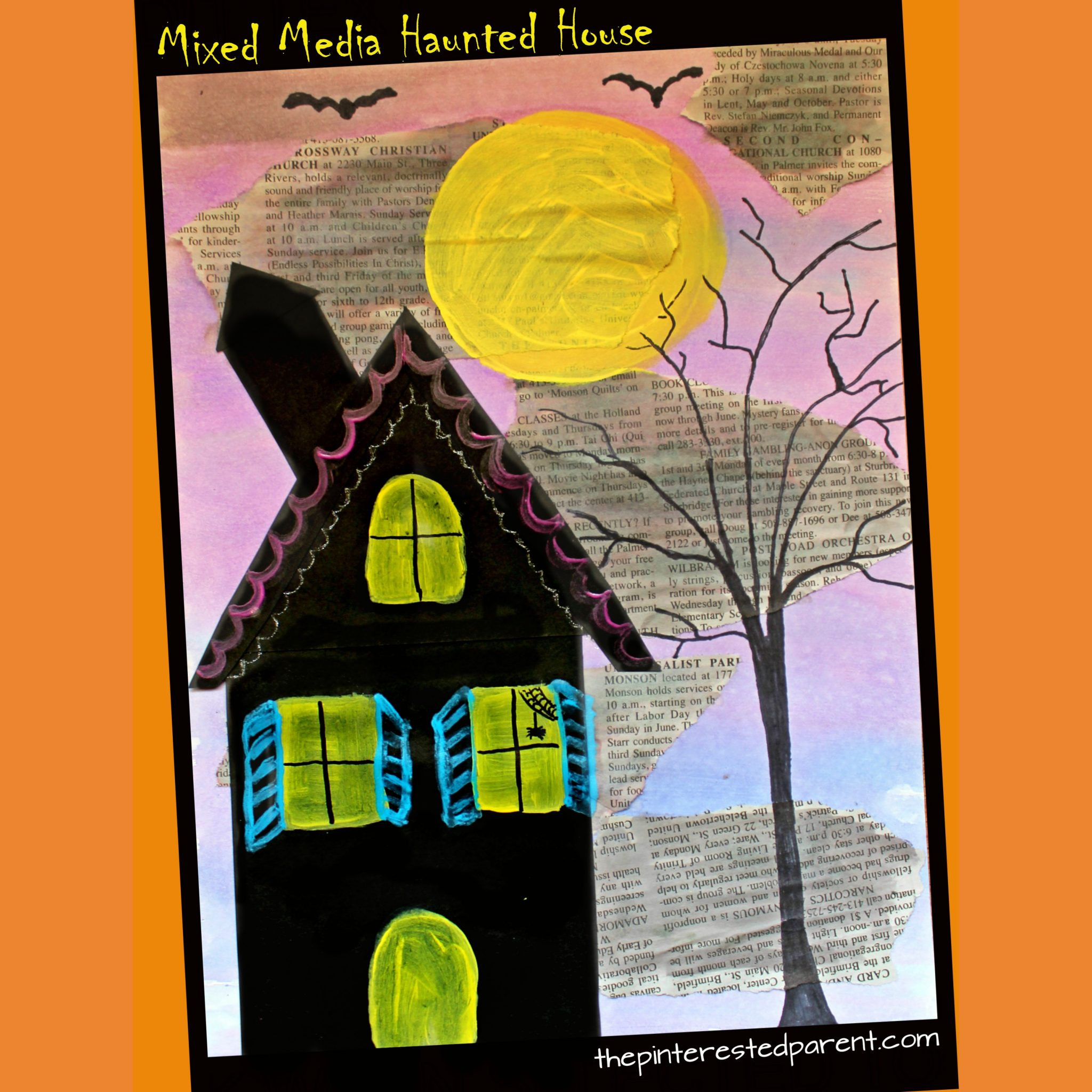 Pibterest Cast Ideas For Kids: Mixed Media Haunted Houses