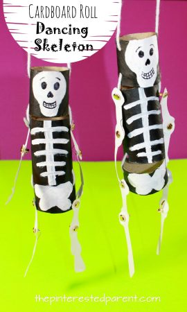Cardboard roll dancing skeleton puppets - Halloween arts and crafts for kids. Crafts with cardboard tube recyclables