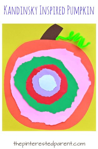Kandinsky Inspired Pumpkin Craft - See all of our artist inspired pumpkin ideas. Fall and Halloween crafts for kids.