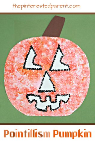 Impressionist Pointillism Pumpkin Craft. See all of our artist inspired pumpkin ideas. Fall and Halloween crafts for kids.