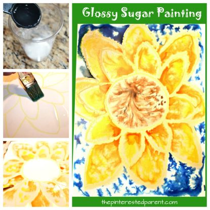 Glossy sugar painting sunflower for the fall - a beautiful painting technique. Kid's arts and crafts projects