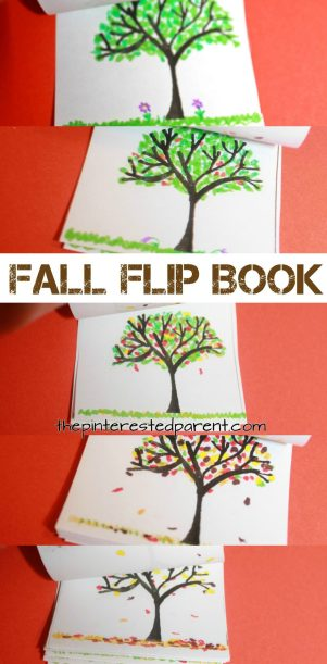 Fall flip book with printable template. Design them for the seasons and make a flip book for every season. Arts and crafts for kids