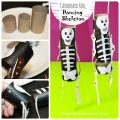 Cardboard roll dancing skeleton - Halloween arts and crafts for kids. Crafts with Recyclables