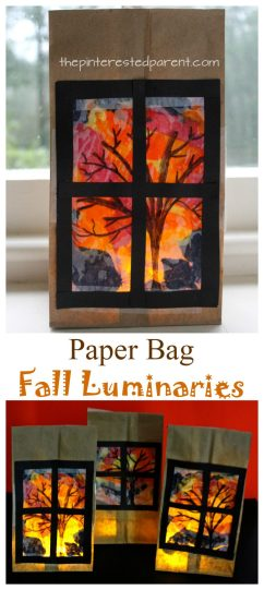 Pretty Paper Bag Fall Tree Luminaries - Autumn arts and crafts for kids.
