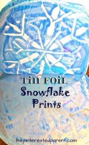 Negative space tin foil snowflake prints . Winter & Christmas arts & crafts for kids. Printmaking ideas