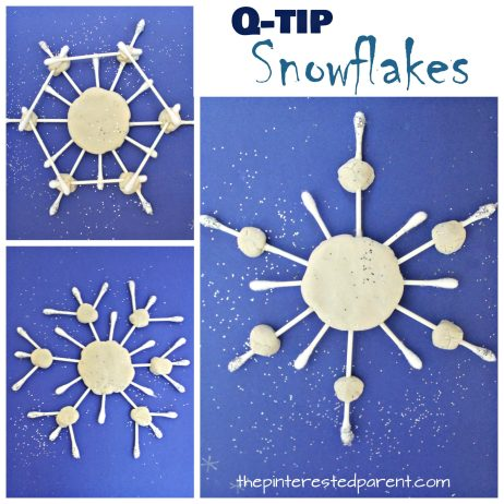 These Q-tip snowflake crafts are great for fine motor skills - Winter & Christmas arts and crafts for kids