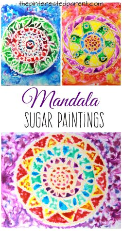 Sugar painting is a gorgeous paint technique and fun process. - Glossy sugar and watercolor painted mandalas - Kids arts and crafts