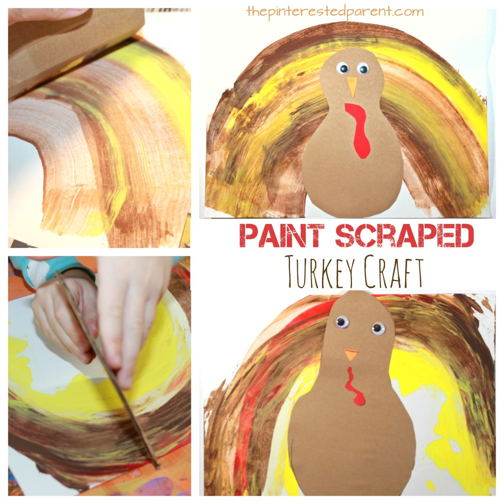 Paint scraped turkey craft - fun and easy kid's arts and craft idea for Thanksgiving.