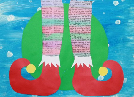 Mixed media elf shoes with printable template for your convenience. - Use paint, paper, newspaper, markers or watercolors to create these fun and colorful elf shoes. Winter and Christmas arts and crafts.