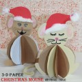 3-D Construction Paper Christmas Mouse with free printable template - animal arts and crafts for kids for Christmas and the holidays