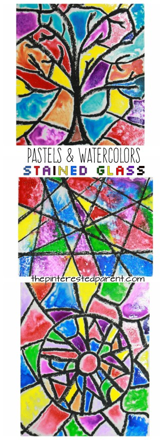 Glossy sugar painted Pastels & Watercolors Stained Glass art project for kids. Kids arts and crafts. Beautiful for Christmas or year round.