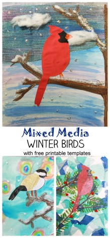 Mixed Media Winter Birds with free printable cardinal & chickadee templates. Beautiful winter art projects for kids