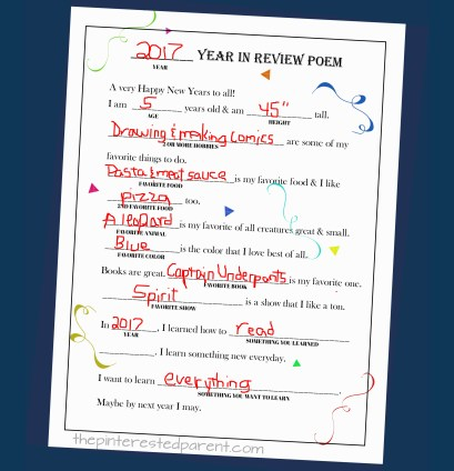 Printable Year In Review Fill-in Poem - fillable questionaire poem for kids for New years