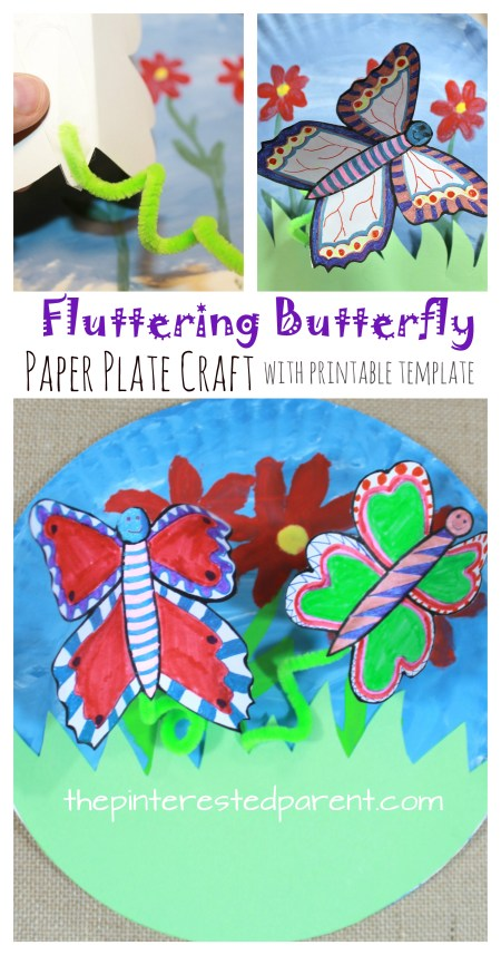 Paper Plate Fluttering Butterfly Craft with printable template. Make your butterflies fly with a little shake. Great kids arts and crafts project for kids for the spring or summer