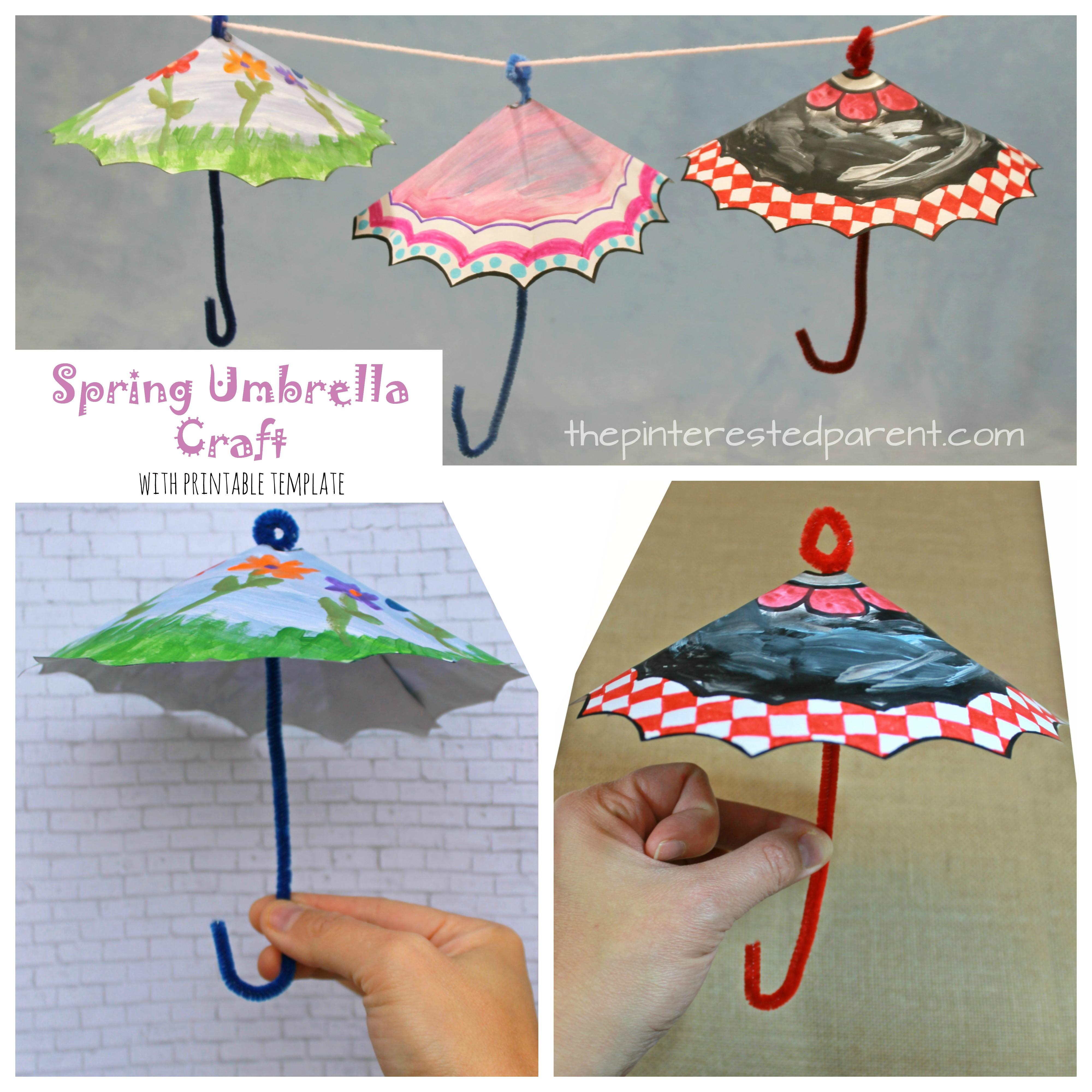 picture regarding Printable Umbrella identify Spring Umbrella Craft With Printable The Pinterested Guardian
