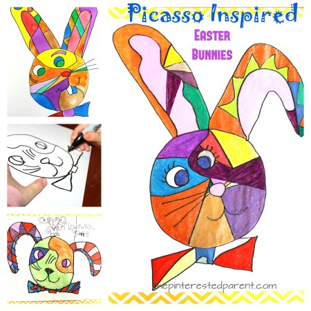 Picasso inspired Easter bunny art project. Easter arts and crafts for kids. Artist inspired artwork