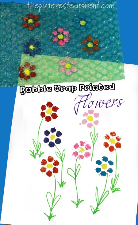 Bubble Wrap printed flowers - kid's arts and craft. Printmaking and stamping ideas for the spring and summer