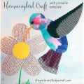 Hummingbird arts and craft for the spring and summer. Free printable template available for painting, coloring, mixed media and more. Kids art ideas