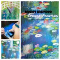 Monet Inspired Sponge Painting. Bridge Over A Pond Of Water Lilies inspired impressionism art for kids. Artist inspired arts and crafts ideas