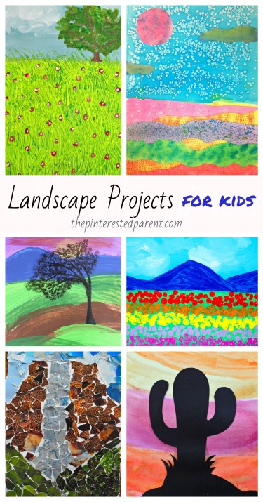 Beautiful Landscape Projects for Kids - #painting #watercolors #landscape #art #kids #paper #techniques #crafts #pastels