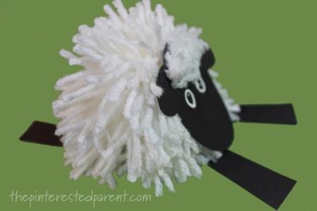 Pom pom sheep craft - farm animals arts and crafts for kids