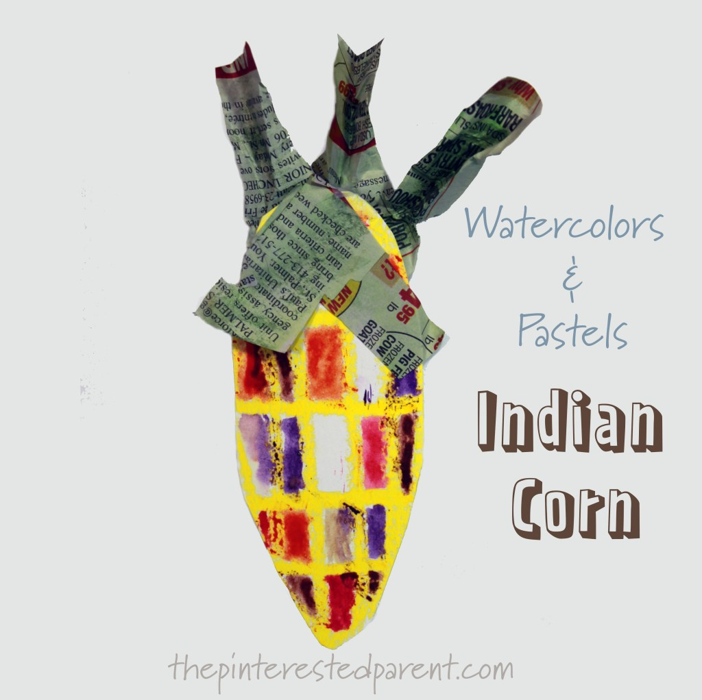 Mixed Media Indian Corn with Pastels, watercolors and newspaper. Arts and crafts for kids. Fall and autumn painting projects