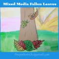 Mixed Media Fallen Leaves Arts & Crafts Project - Use newspaper, watercolors and other media to make this lovely autumn / fall art project . Kids artwork # falling leaves
