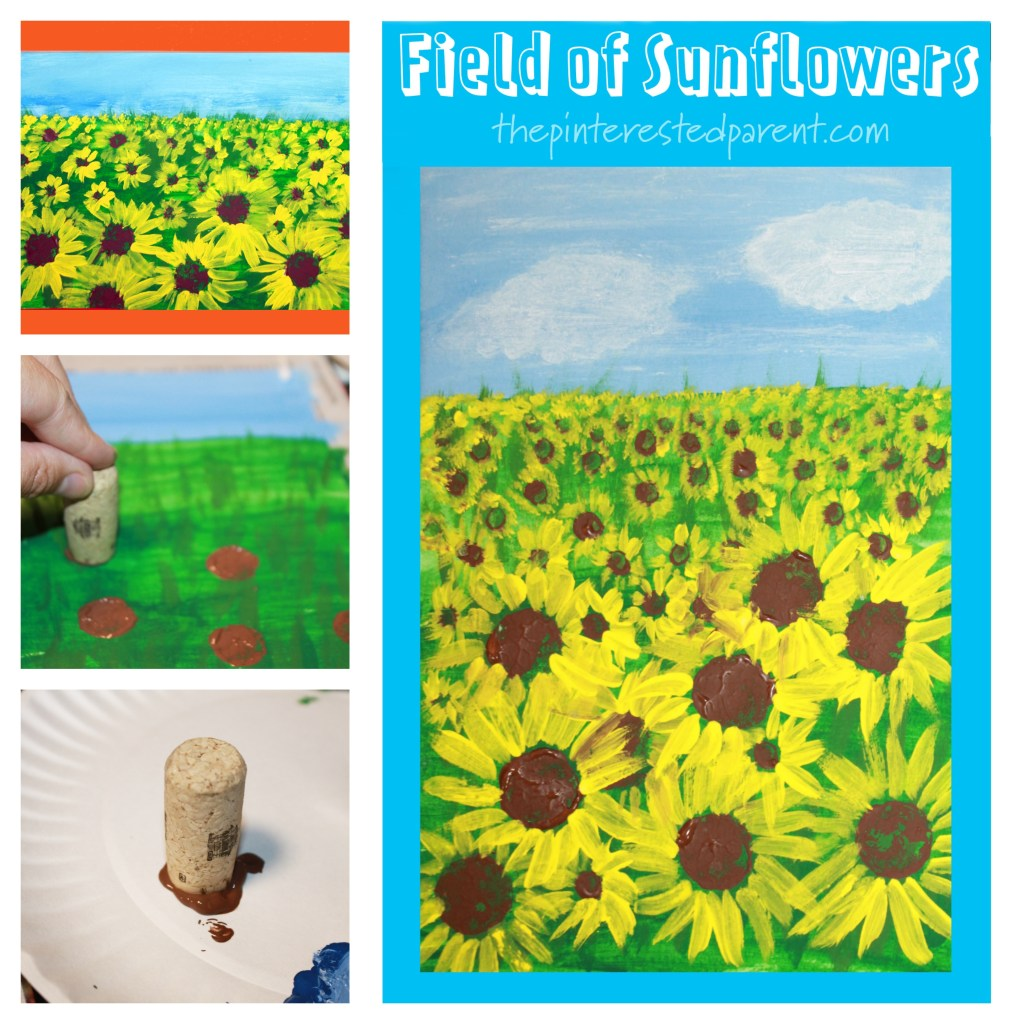 Easy how-to paint a field of sunflowers . Stamping and painting for kids. Fall arts and crafts landscape projects