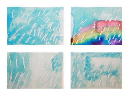 Pastel resist Rainy Windows Painting - easy spring arts and crafts projects for kids.