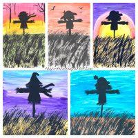 Scarecrow silhouette paintings