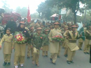 Khaksar Shaheen Force children presents flowers and marched in the memories of Peshawar incident