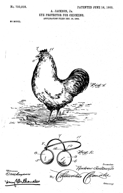 Drawing for US patent 730918 - Chicken Glasses